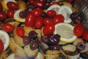 roasted potato,tomato and olives