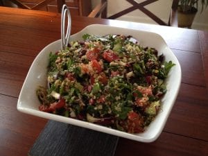 tabbouleh with raddichio, basil and chard