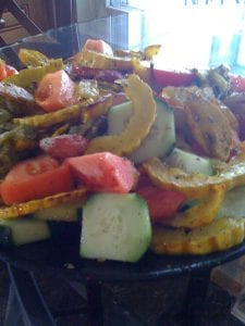 cucumber tomato salad with roasted squash