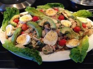Salmon and crab macaroni salad