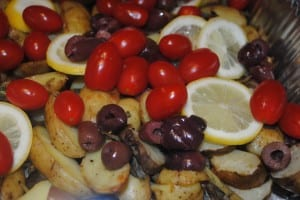 roasted potato,tomato and olives