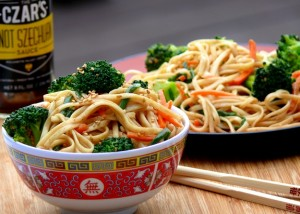 spicy szechuan noodle salad with broccoli