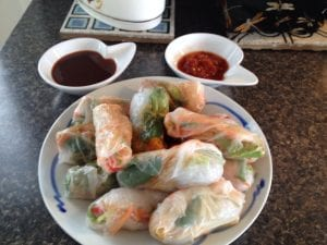 spring rolls with asian dips