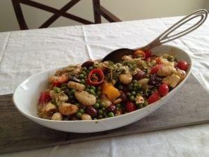 Gnocchi, artichoke and pea salad