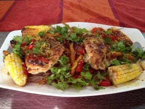 Rhubarb stuffed chicken breasts  on soba