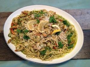 Linguine with Pesto Shrimp
