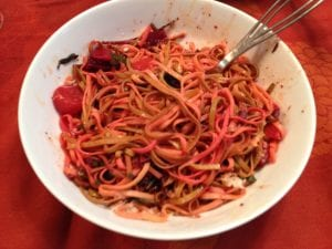 red and golden beet fettuccine