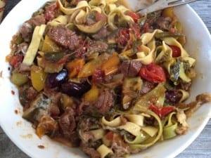 Tagliatelle with Lamb,chard and olive Ragu