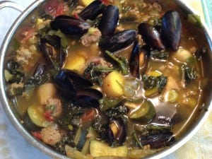 Mediterranean Mussel Stew with Sausage, Kale and Zucchini